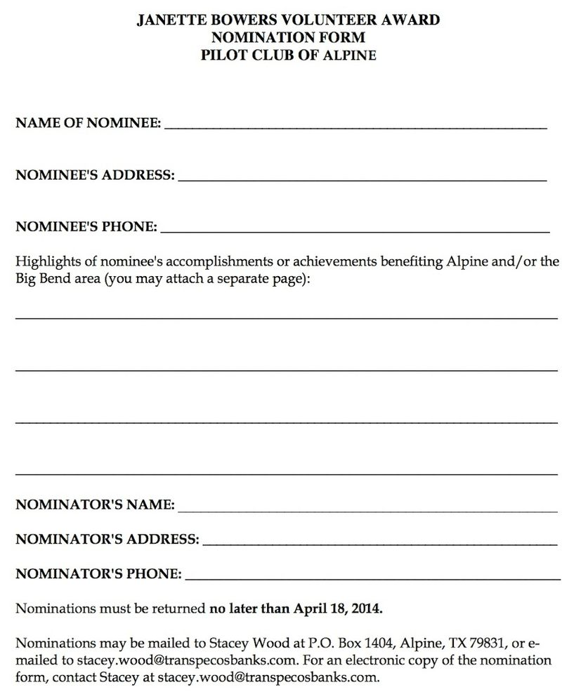 Volunteer nomination form