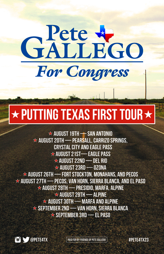 Pete Gallego Texas First poster