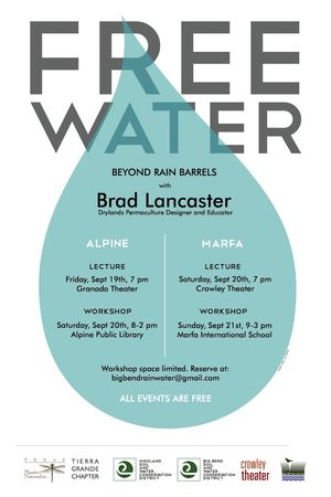Water harvesting workshops poster