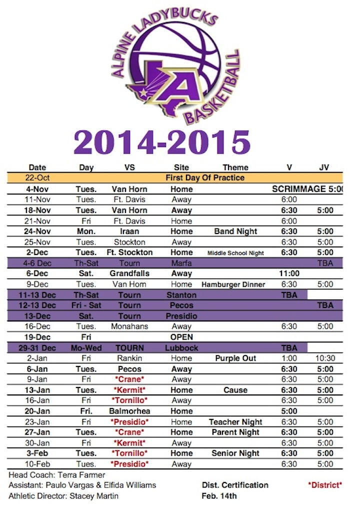 Lady Bball sked update