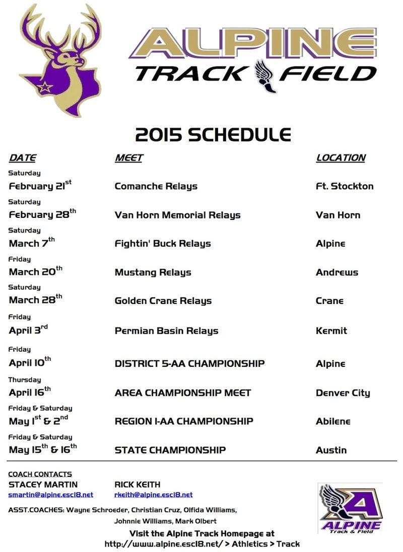 AHS track schedule 2015